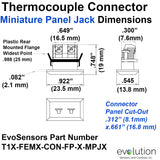 Type T Thermocouple Connector - Miniature Panel Jack Design