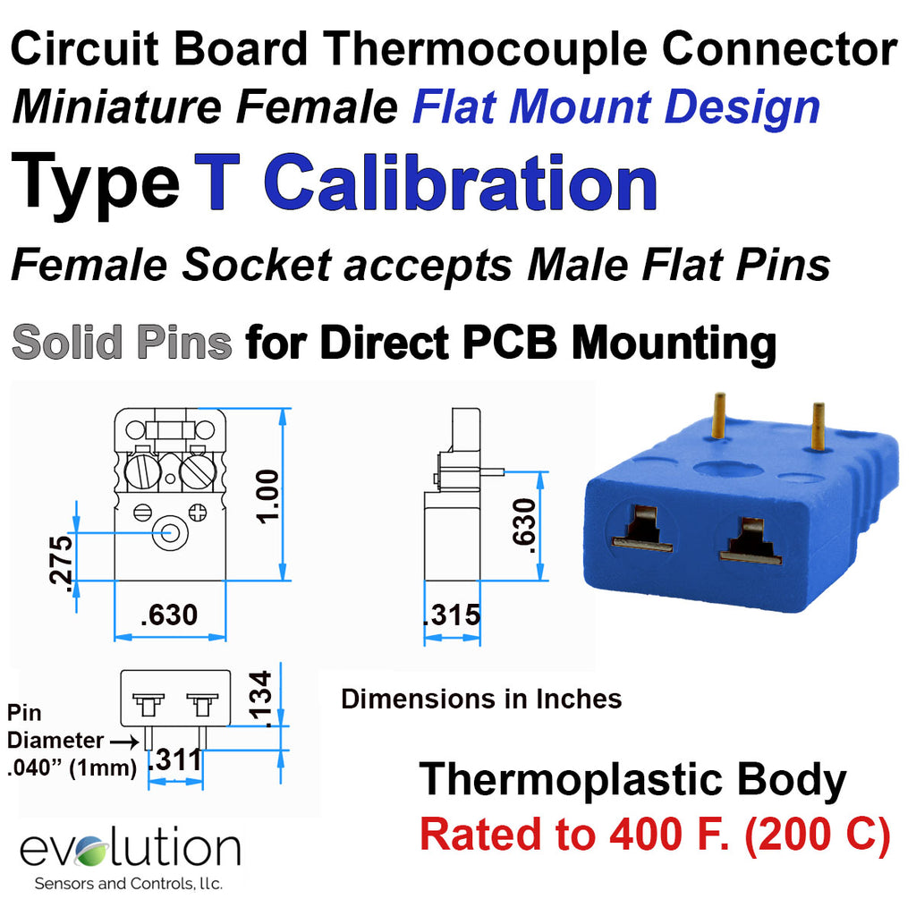 Miniature Circuit Board Thermocouple Connector - Type T Calibration