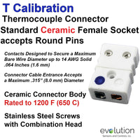 Type T Thermocouple Connectors Standard Size Ceramic Female
