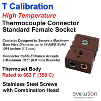 Type T Thermocouple Connectors Standard Size High Temperature Female