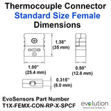 Type T Thermocouple Connectors Standard Size Female Dimensions