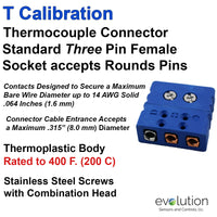 Type T Thermocouple Connectors Standard Size Three Pin Female