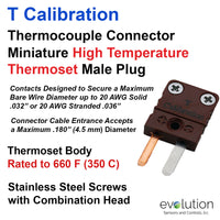 Type T Miniature High Temperature Thermoset Male Thermocouple Connector