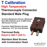Type T Standard Size High Temperature Male Thermocouple Connector