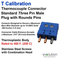 Type T Standard Size Three Pin Thermocouple Connector