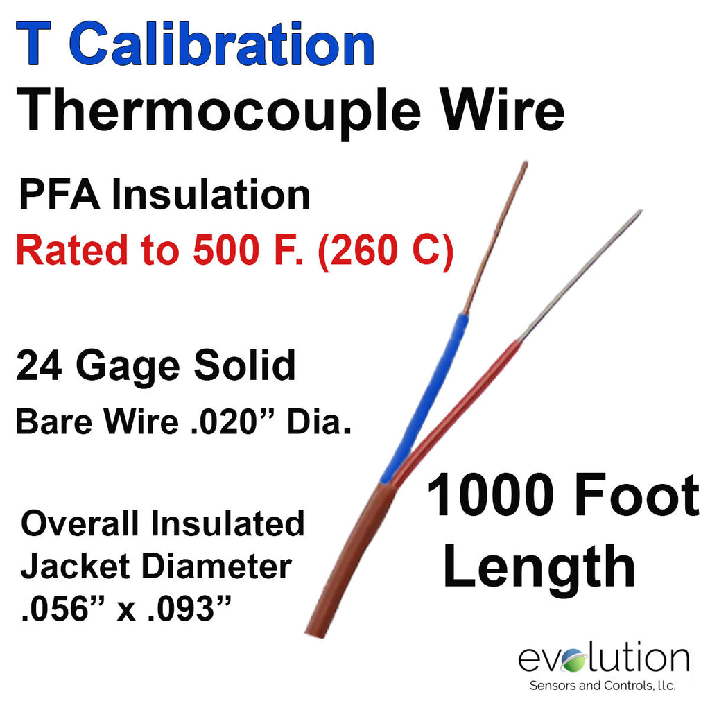 Thermocouple Wire Type T 24 Gage PFA Insulated 1000 ft Long