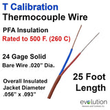 Thermocouple Wire Type T 24 Gage PFA Insulated 25 ft Long