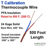 Type T Thermocouple Wire | 24 Gauge PFA Insulated 500 ft Long