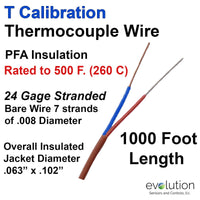 Thermocouple Wire Type T 24 Gage Stranded PFA Insulated 1000 ft Long