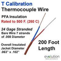 Thermocouple Wire Type T 24 Gage Stranded PFA Insulated 200 ft Long