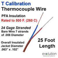 Thermocouple Wire Type T 24 Gage Stranded PFA Insulated 25 ft Long