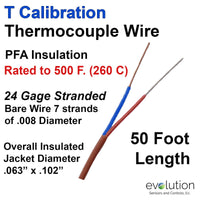 Thermocouple Wire Type T 24 Gage Stranded PFA Insulated 50 ft Long