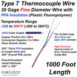 Type T Thermocouple Wire  30 Gage PFA Insulated 1000ft Long