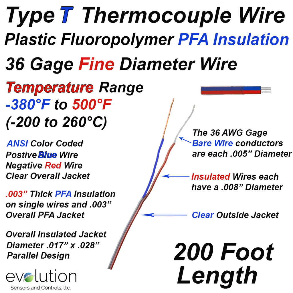 Thermocouple Wire Type T 36 Gage PFA Insulated 200 ft Long