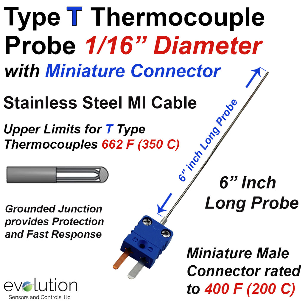 Type T Thermocouple 1/16 Diameter Probe with Miniature Connector