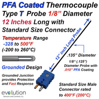 PFA Coated Thermocouple Sensor and Probe Type T Grounded 12 inches long 1/8 inch diameter Stainless Steel Sheath and Standard Connector