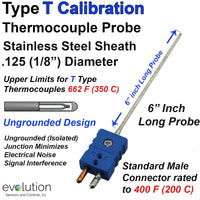 Type T Thermocouple Probe Ungrounded 1/8