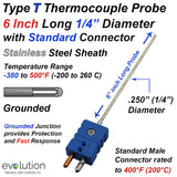 "Type T Thermocouple 1/4"" Diameter 6 Inch Long Probe with Connector"