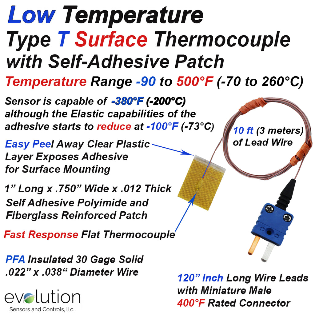 Type T Surface Thermocouple for Low Temperatures with Adhesive Patch