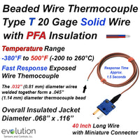 Thermocouple Beaded Wire Sensor Type T 20 Gage PFA Insulated 40 inches long with Miniature Connector