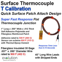 Surface Thermocouple Type T Fast Response with Surface Mount Adhesive Patch and 40 inches of 30 Gage Fiberglass Insulated Wire with Stripped Leads