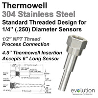 1/2 NPT Stainless Steel Thermowell for 1/4