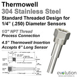 "1/2 NPT Stainless Steel Thermowell for 1/4"" Diameter 6"" Long Probes"