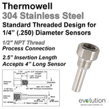"Stainless Steel Thermowell 1/2"" NPT for 4 Inch Long Probes"