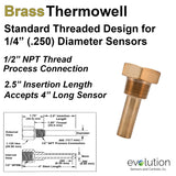 Thermowell Brass 1/2 Male NPT with 2.5 inch insertion length