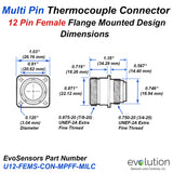 Multi Pin Thermocouple Connector 12 Pin Female with Mounting Flange  Dimensions