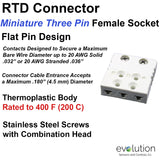 RTD Connector 3 Pin Miniature Female