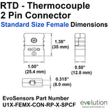Type U Standard Size Female Thermocouple Connector Dimensions