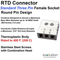 RTD Connector Standard 3 Pin Female