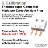 Type U Miniature Three Pin Male Thermocouple Connector