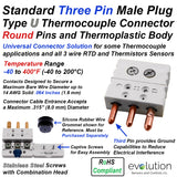 Type U Thermocouple Connector Three Pin Standard Size Male