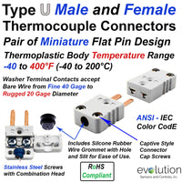 Set of Type U Miniature Male and Female Thermocouple Connectors