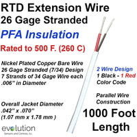 RTD Extension Wire 26 Gage Stranded 2-Wire Design PFA Insulated 1000 ft Long