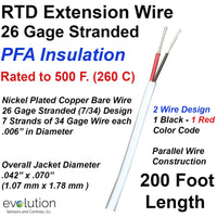 RTD Extension Wire 26 Gage Stranded 2-Wire Design PFA Insulated 200 ft Long