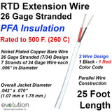 RTD Extension Wire 26 Gage Stranded 2-Wire Design PFA Insulated 25 ft Long