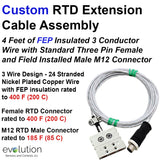 Custom RTD Extension Cable Assembly M12 Male Connector and Standard Female Connector