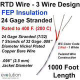 RTD Wire – 3 Wire Design 24 Gage Stranded with FEP Insulation - 1000 ft Long