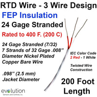 RTD Wire – 3 Wire Design 24 Gage Stranded with FEP Insulation - 200 ft Long