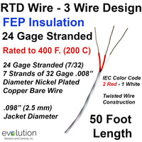 RTD Wire – 3 Wire Design 24 Gage Stranded with FEP Insulation - 50 ft Long