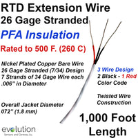 RTD Extension Wire 1000 ft Long 26 Gage Stranded 3 Wire Design PFA Insulated