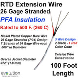 RTD Extension Wire 26 Gage Stranded PFA Insulated 100 ft Long