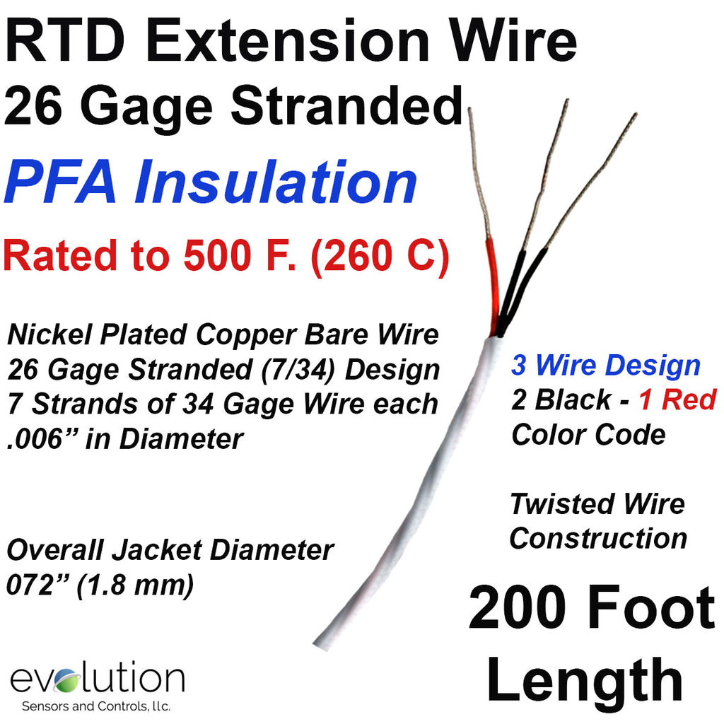 RTD Extension Wire 200 foot length 26 Gage Stranded 3- Wire Design PFA Insulated