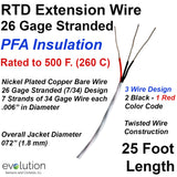 RTD Extension Wire 26 Gage Stranded PFA Insulated 25 ft Long