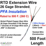 RTD Extension Wire 26 Gage Stranded PFA Insulated 500 ft Long