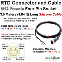 RTD M12 Connector Extension Cable Female and Stripped Leads 3 Meters Long