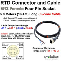 RTD Extension Cable with M12 Female Connector and Stripped Leads 5M Long